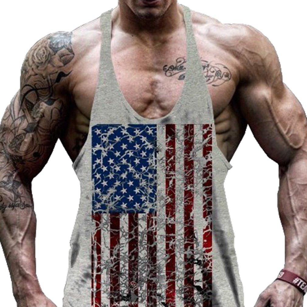 Mxssi Maglietta Senza Maniche Rinforzata da Uomo da Ginnastica Bodybuilding Ginnastica Camicie da Corsa Elasticizzate Bandiera Americana Stampata A Secco vestibilità Sportiva