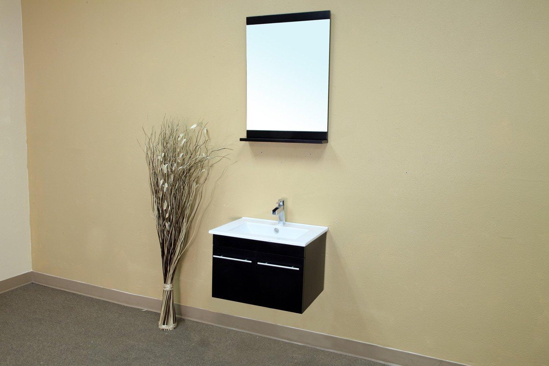 Bellaterra Home 203172-S 24.4-Inch Single Wall Mount Style Sink Vanity, Wood, Black by Bellaterra Home (Image #2)