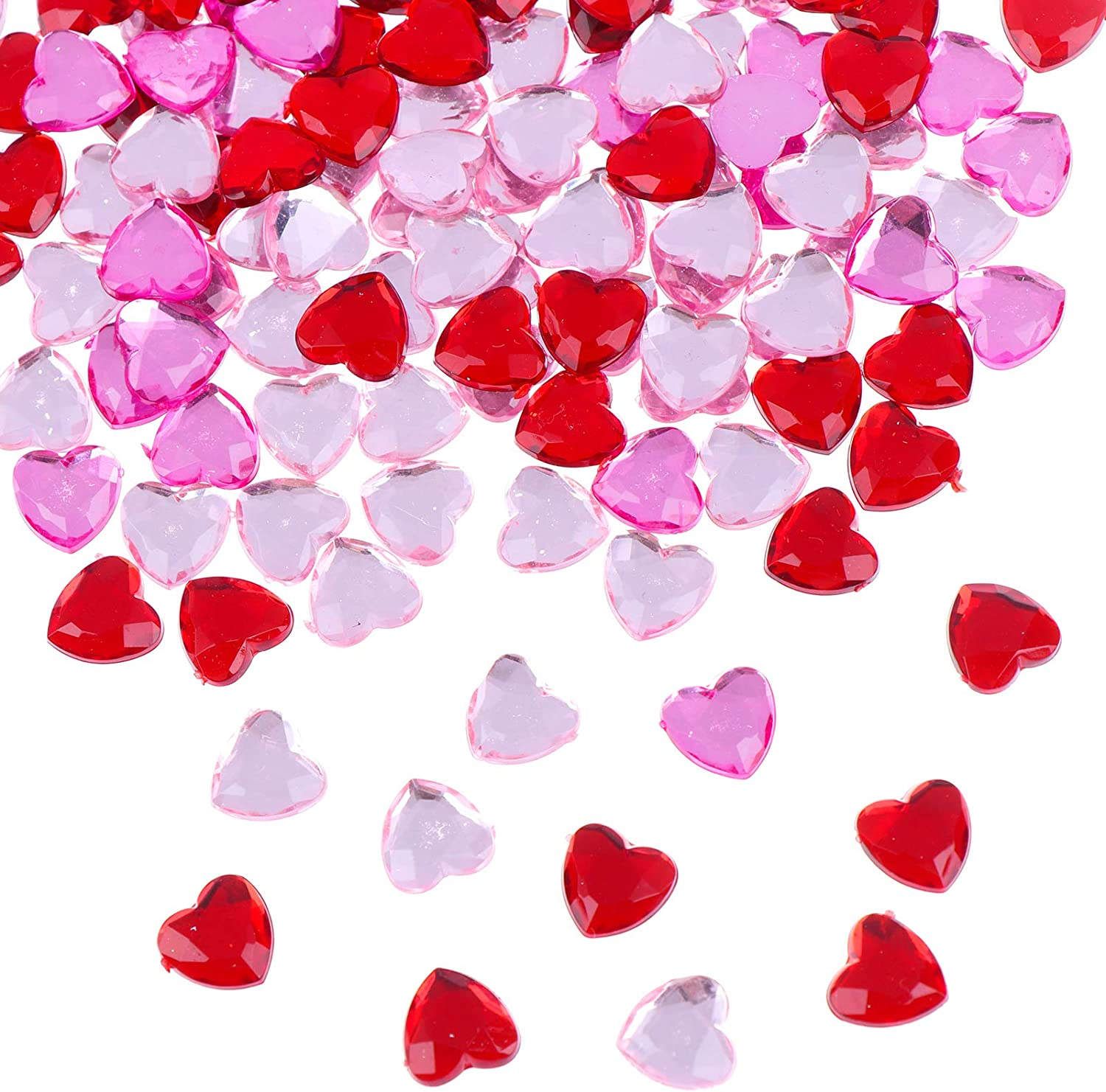 PIAOPIAONIU 600 Count Red Pink Acrylic Heart for Valentines Day,Heart Gems,Wedding Heart Table Scatter Decoration,Flat Back Heart Rhinestones,Heart Glass Crystal Decor for DIY Crafts Jewelry Making