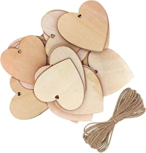 Wooden Hearts, 10Pcs Heart-Shaped Wood Decoration with Natural Twine for DIY Crafting, Wedding Crafts