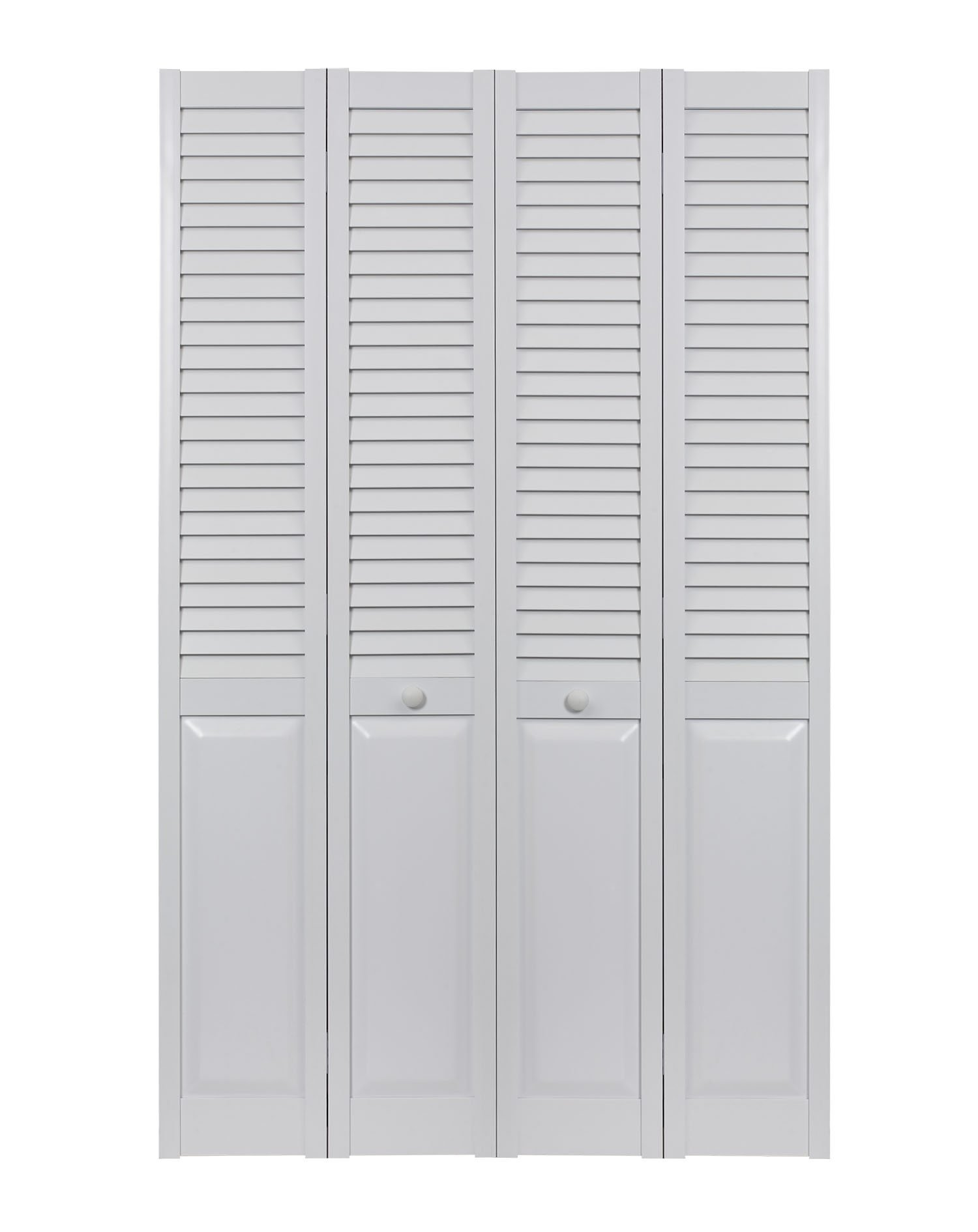 LTL Home Products SEALP48 Seabrooke PVC Louvered & Panel Interior Bifold Door (2 Pack), 78.625'' x 23.5'', White by LTL Home Products