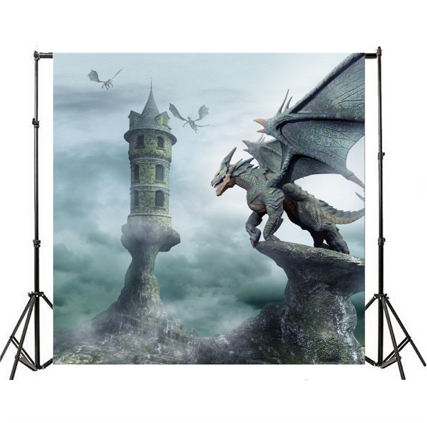 Csfoto 8x8ft Background For Dinosaur Dragon Castle Photography Backdrop Fantasy Abstract Rock Danger Flying Cool Devil Photo Studio Props Kid Children