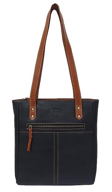 Damen Leder Tasche, Umhängetasche Leder, Damentasche, Ledertasche, Schultertasche Leder, Handtasche, Damen Handtasche, Shopping-Tasche, Echtleder - Schwarz Rowallan