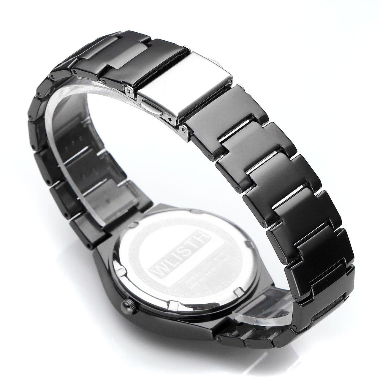 JSDDE Wrist Watch for Lovers/Couples Dress Wrist Analog Quartz Waterproof Business Casual Calendar Date Window, 98FT 30M 3ATM Water Resistant - Black