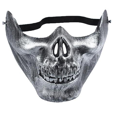 Ruikey Cráneo Esqueleto Máscara Airsoft Paintball BB Arma Media Cara Proteger la Máscara CS Warrior Máscara
