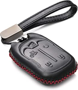 Vitodeco Genuine Leather Smart Key Fob Case Cover Protector with Leather Key Chain for 2019-2021 Chevrolet Silverado 1500, 2500, 3500, 2019-2021 GMC Sierra (5-Button, Black/Red)