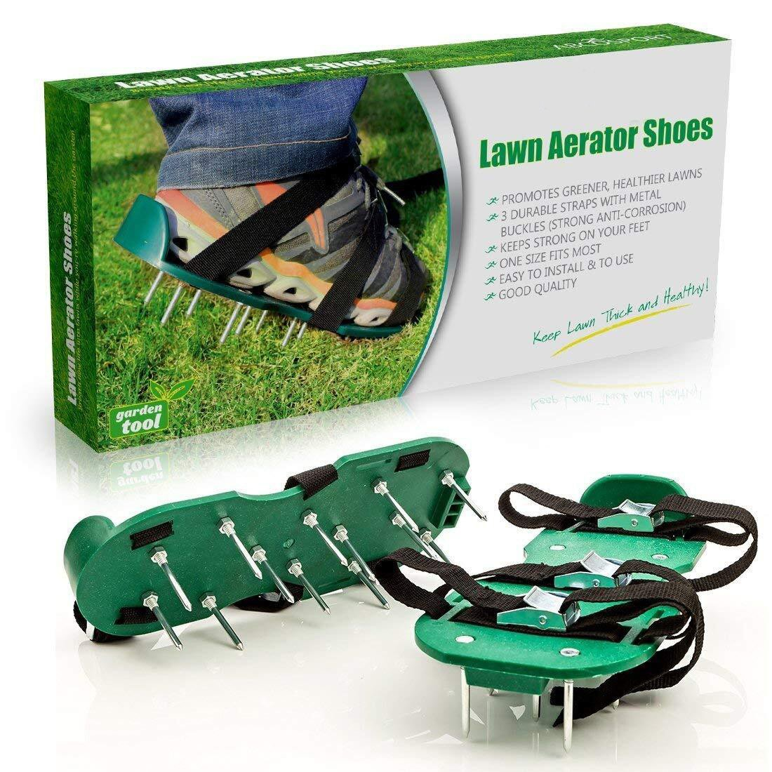 AUVSTAR Loose Soil Nail Shoes, Lawn Aerator Spike Shoes – For Effectively Aerating Lawn Soil – Comes with 3 Adjustable Straps with Metallic Buckles – Universal Size that Fits all – For a Greener and Healthier Garden or Yard.