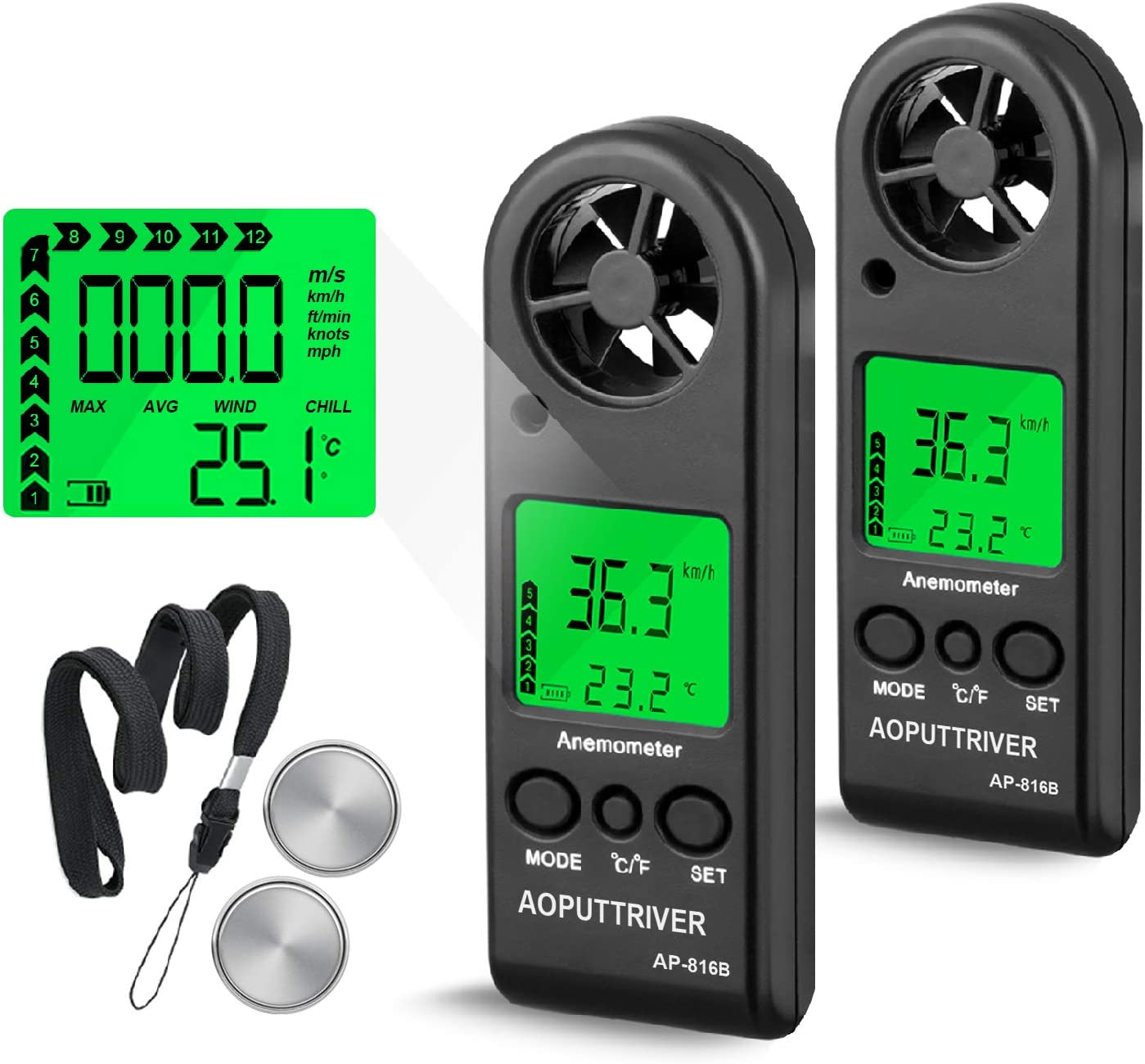 Portable Anemometer Handheld Wind Speed Meter for Measuring Wind Speed,Temperature and Max/Average/Current, High Precision, Measuring for Windsurfing Sailing Fishing Outdoor Activities-AP-816B(2Pack)