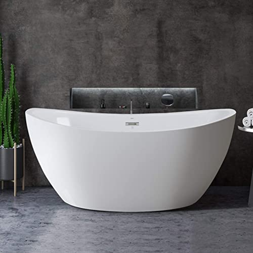 FerdY 59 Freestanding Bathtub Curve Edge Freestanding Soaking Bathtub, Glossy White, cUPC Certified, Drain Overflow Assembly Included