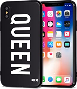 iPhone X Case Queen Slim Fit Black Shockproof Bumper Cheap Cell Phone Accessories Queen & King Design Thin Soft TPU Protective Capa for Men Apple iPhone X Cases Luxury for Women Girls