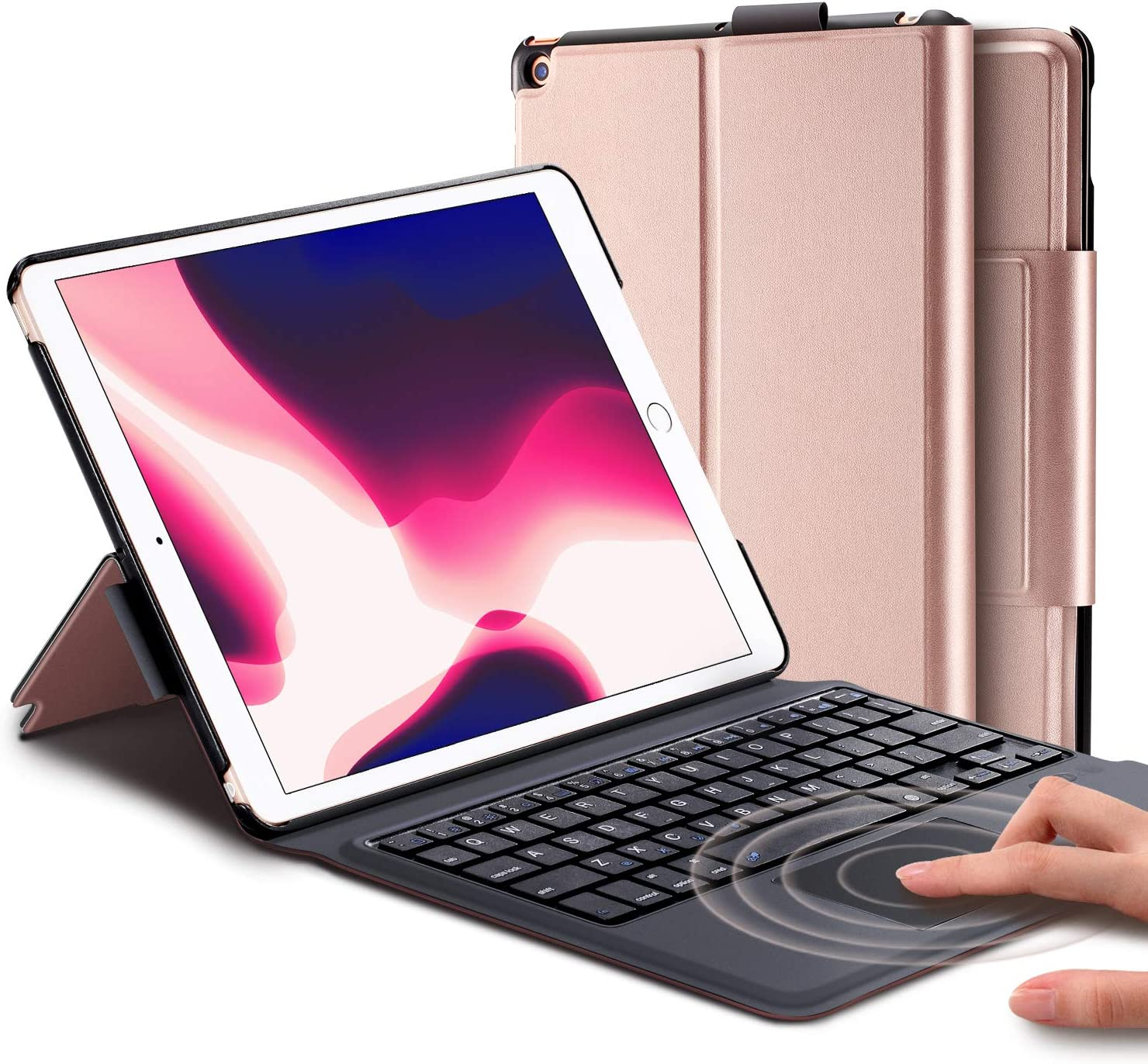 """Keyboard CaseforNewiPad8th Generation 10.2 inch 2020 / 7th (10.2 2019) / iPad Air 3rd Generation10.5 2019/iPad Pro 10.5 2017– Stable Touchpad Function- (10.2/10.5"""", Rose Gold)"""