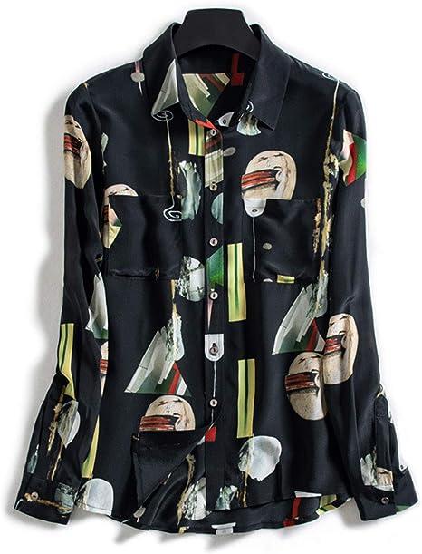 AIBAB Camisa De Seda De Las Mujeres Top De Seda De Manga Larga Camisa De Gasa Collar De Polo: Amazon.es: Deportes y aire libre