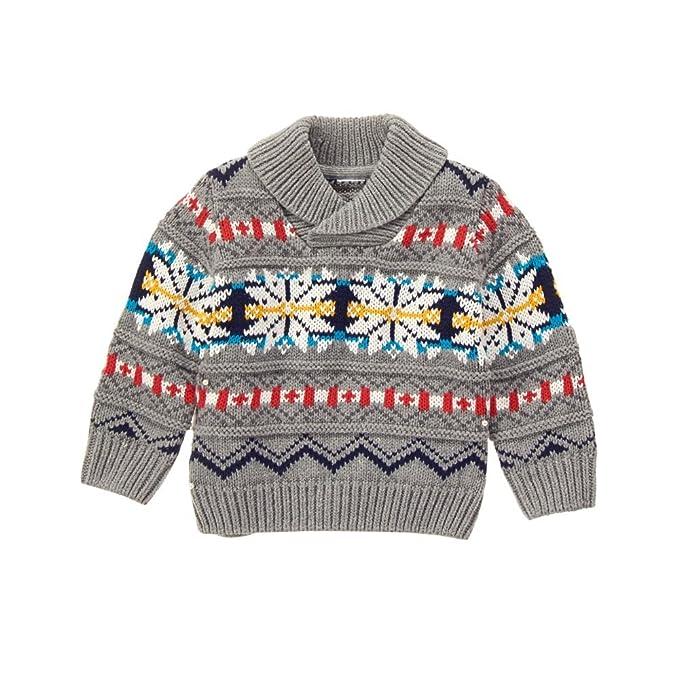 a6a33dc91 Amazon.com  Gymboree Baby Boys  Grey Fairisle Shawl Collar Sweater ...
