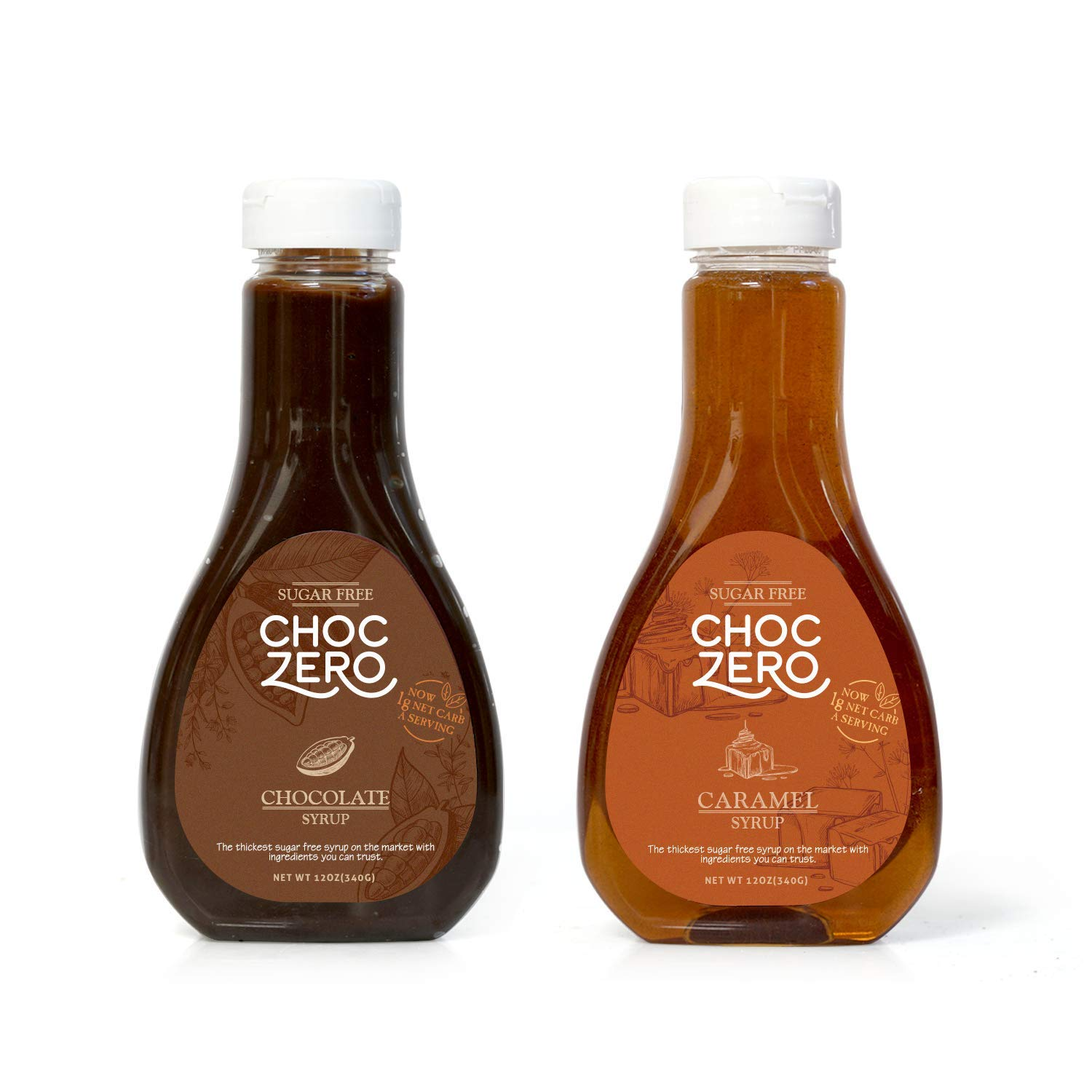 ChocZero's Chocolate and Caramel Syrup. Sugar Free, Low Net Carb, No Preservatives. Gluten Free. No Sugar Alcohols. Great for waffles and pancakes (2 bottles)