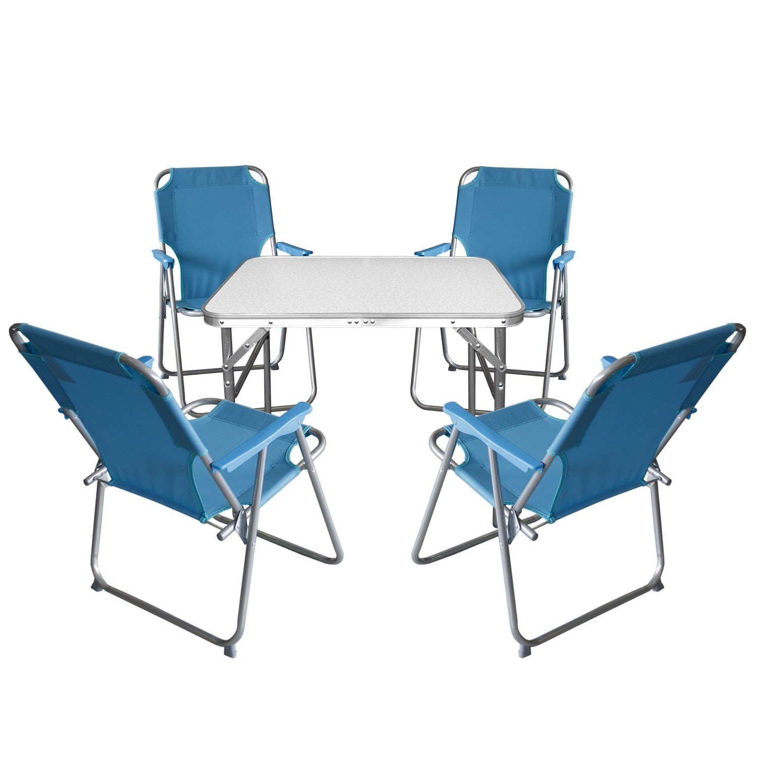 5tlg campingm bel set klapptisch aluminium 55x75cm 4x campingstuhl blau strandm bel. Black Bedroom Furniture Sets. Home Design Ideas