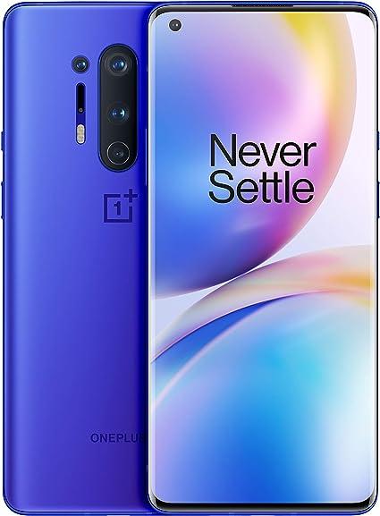 OnePlus 8 Pro Ultramarine Blue Phone |6.78  Fluid AMOLED 3D Screen at 120Hz |12GB of RAM + 256GB of Storage |Quad Camera |Wireless Fast Charge |Dual Sim |5G |2 years warranty