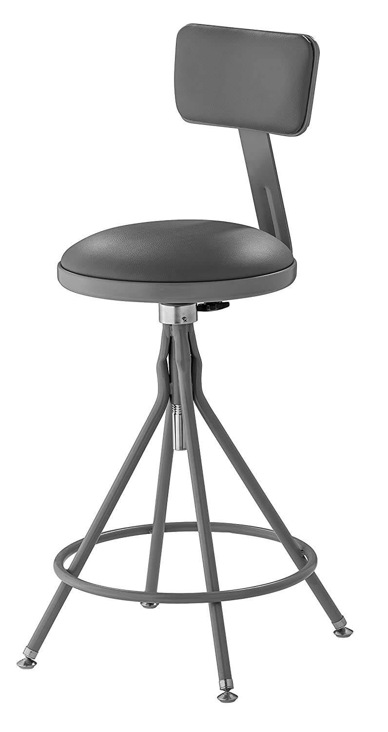 National Public Seating 6524HB – 24-28 Adjustable Premium Swivel Stool with Backrest