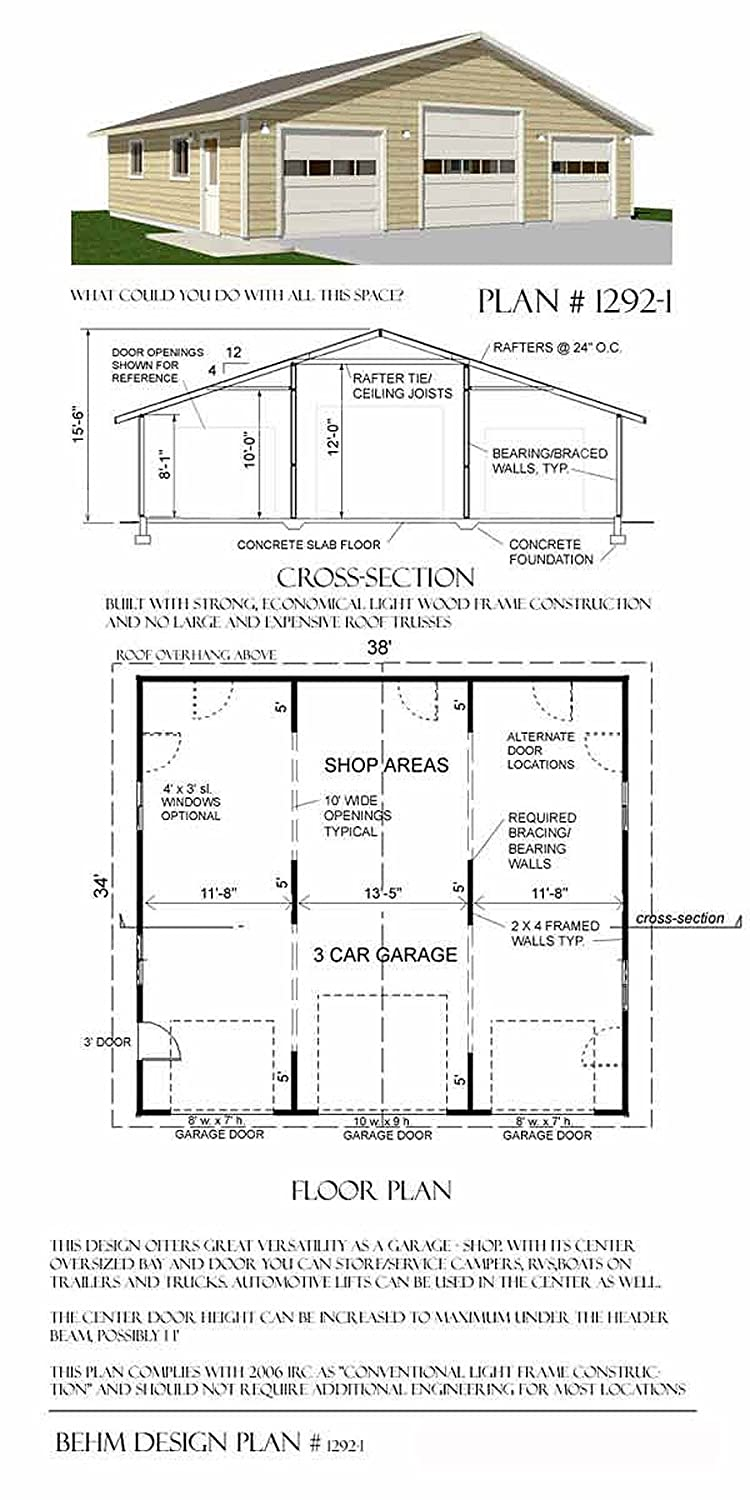 Garage Plans Three Car Garage With High Center Bay and Extended – 3 Bay Garage Plans