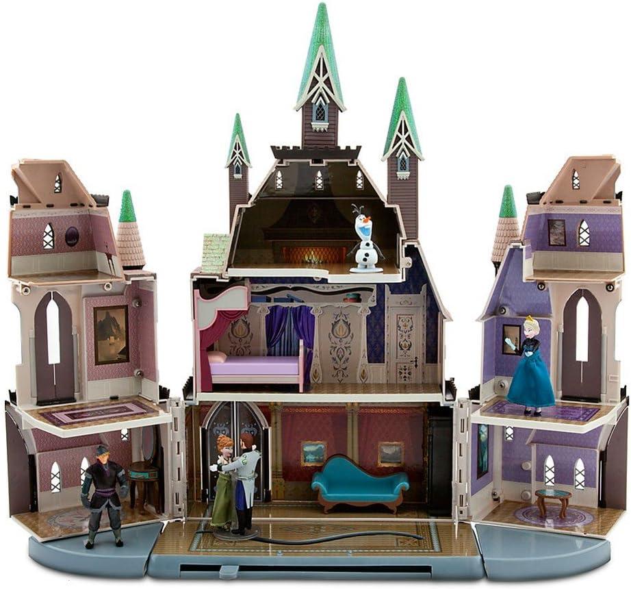 Amazon Com Disney Store Frozen Castle Of Arendelle Play Set Anna Elsa Hans Kristoff Olaf Toys Games