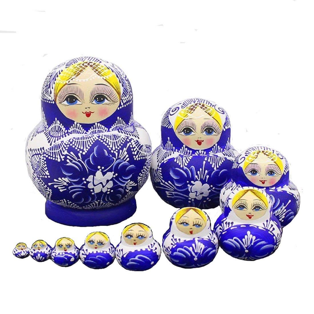 LK King&Light 10pcs beautiful Blue_White Russian Nesting Dolls Matryoshka Wooden Toys by LK