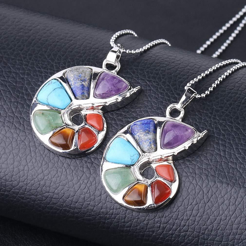 Tebapi Womens Pendant Necklace Spiral Shape Pendant Natural Stone 7 Chakra Necklaces Pendants for Women Men Yoga Reiki Healing Bead Fashion Jewelry F737