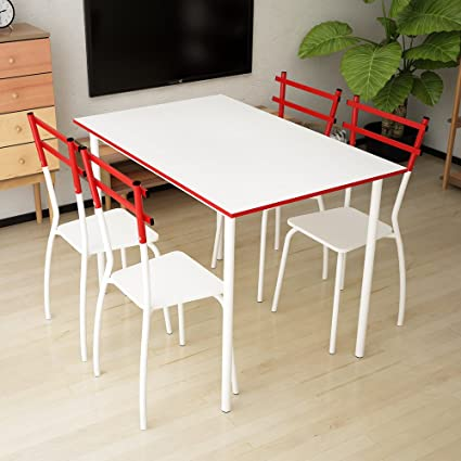 IKAYAA 5 Piezas Mesa de Comedor con 4 Sillas Set Muebles de la Sala de Cocina para 4 Persona 120 kg de Capacidad