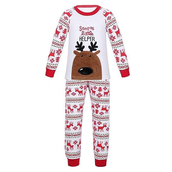 CHICTRY 2pcs Navidad Pijamas de Algodón para Niña Niño Conjuntos de Ropa Santa Tops Camisas Manga