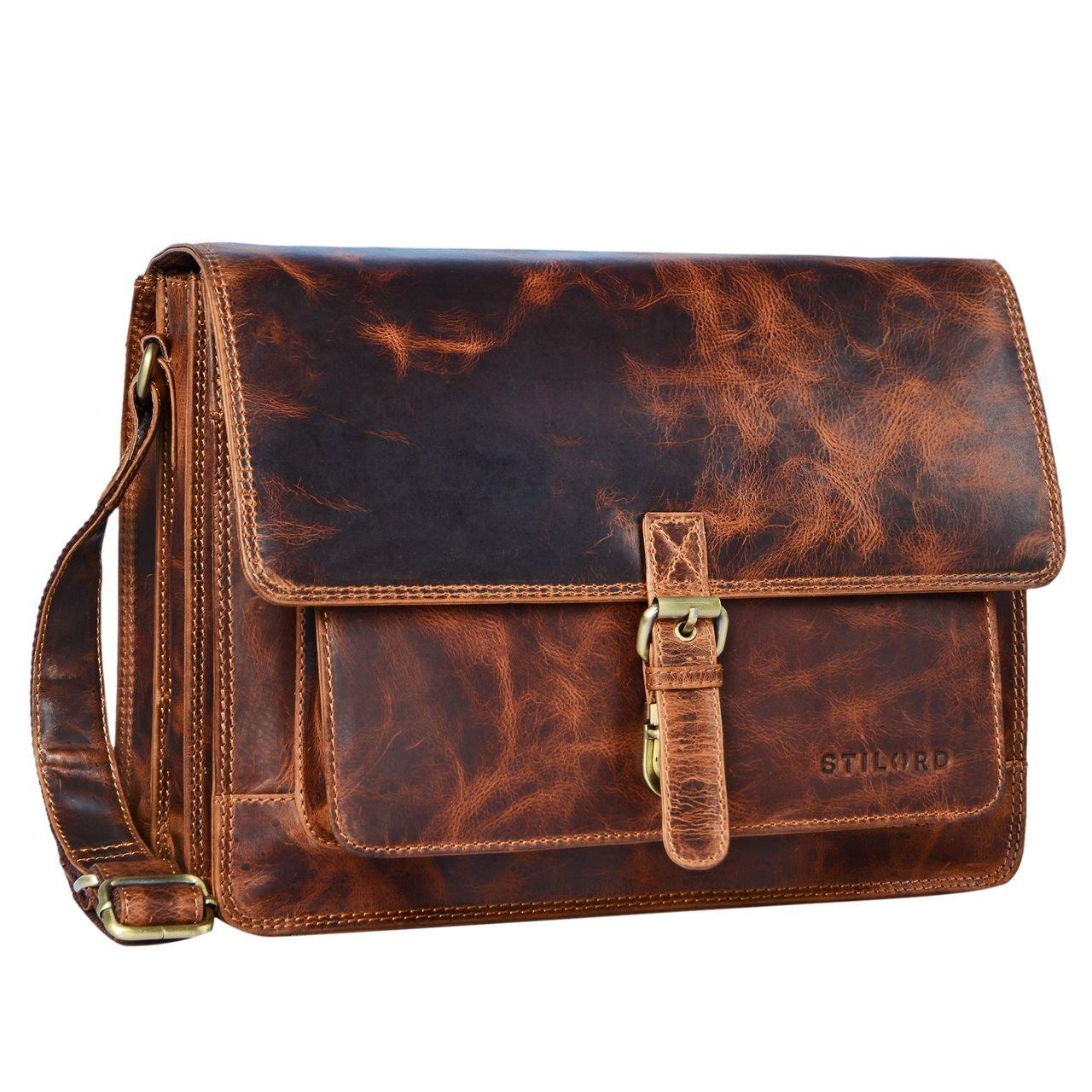 STILORD 'Romeo' Kleine Aktentasche Leder für Herren Damen Vintage Businesstasche Bürotasche für DIN A4 Dokumente und 13,3 Zoll Laptops MacBooks aus echtem Leder, Farbe:Kara - Cognac