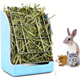 Rabbit Feeder Bunny Guinea Pig Hay Feeder, Hay Guinea Pig Hay Feeder, Chinchilla Plastic Food Bowl (Blue)