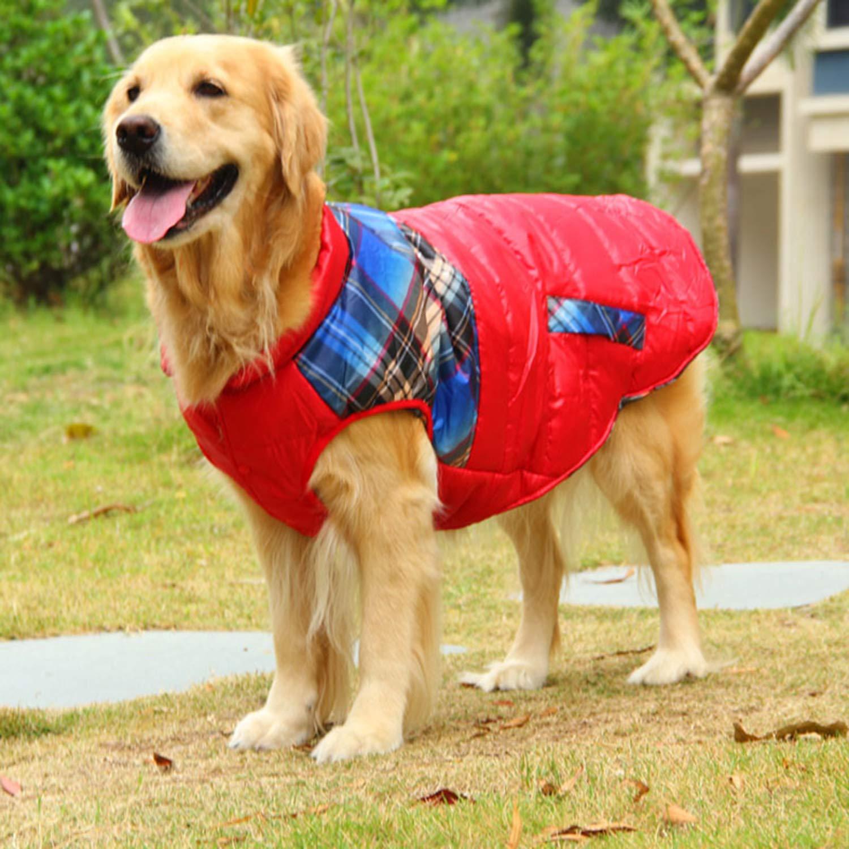 Red XXXXL Red XXXXL Dog Clothes Samoyed golden Retriever Large Dog Clothes Autumn and Winter Warm Cotton Jacket Vest