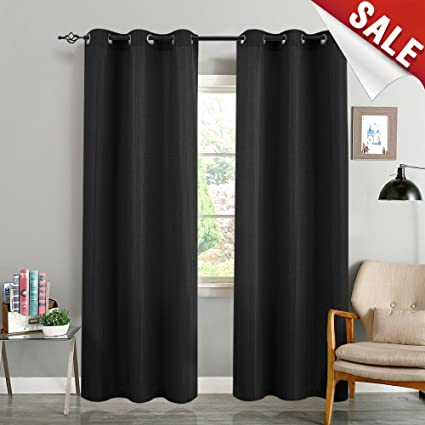 Black Curtains for Bedroom 84 inches Long Room Darkening Waffle Weave  Textured Privacy Living Room Window Treatment Set for 2 Panels
