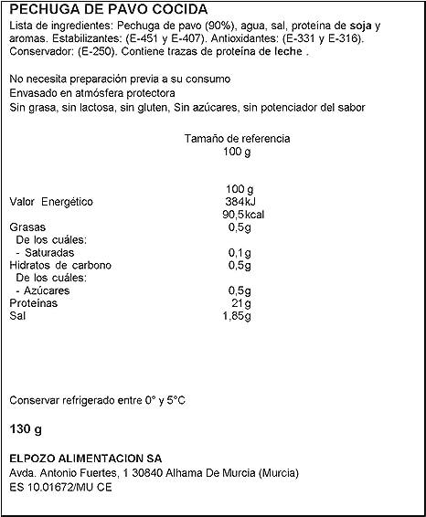 ElPozo Pechuga de pavo sin grasa corte fresco, 1 x 130 g ...