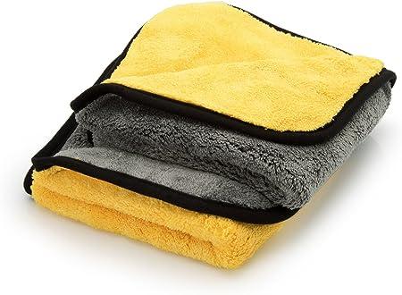 Ginoclean 2x Profi Auto Poliertuch Weiches Microfasertuch Schonende Autopflege Mikrofaser Trockentuch 40x40cm Yellow Grey Yellow Grey Auto