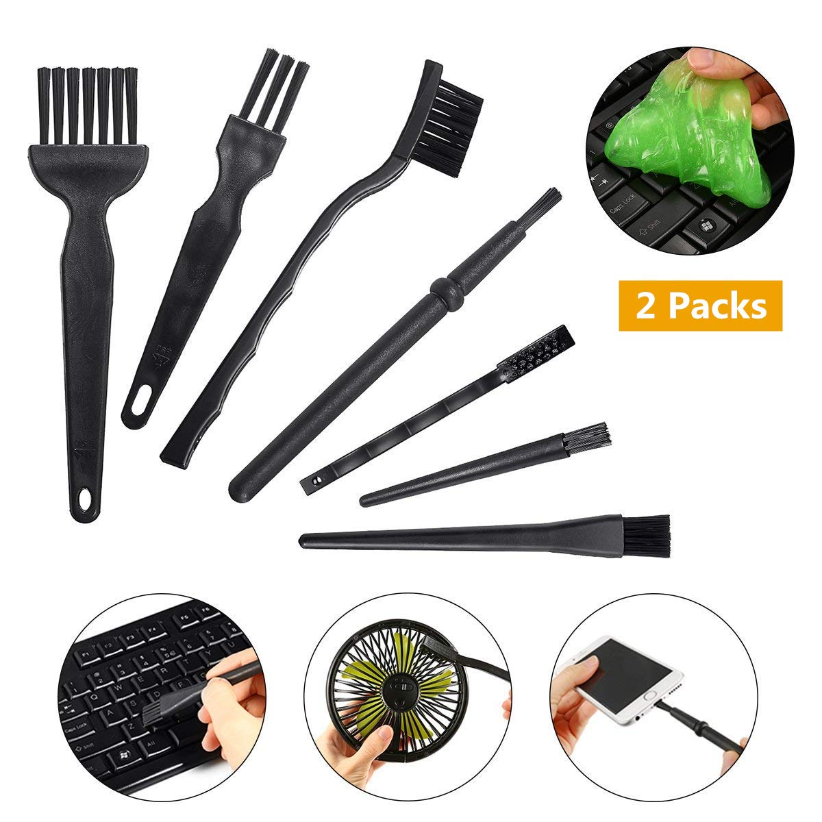10 in 1 Electronic Cleaner, MECO Portable Handle Nylon Anti static Brushes Cleaning Kit(2 Packs Cleaning Gel)