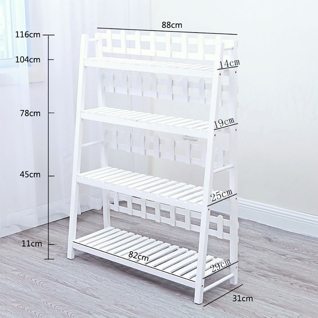 8831116cm NYDZDM White Mobile Multi-Layer Floor Shelf, Indoor Multi-Purpose Balcony Living Room Shelf Flower Shelf and Fence Flower Bed (Size   50  31  121cm)