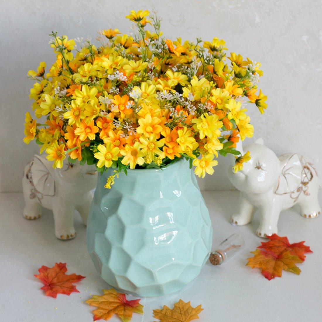 Luwu Store Silk Artificial Flowers 28 Heads Fake Daisy Flower For