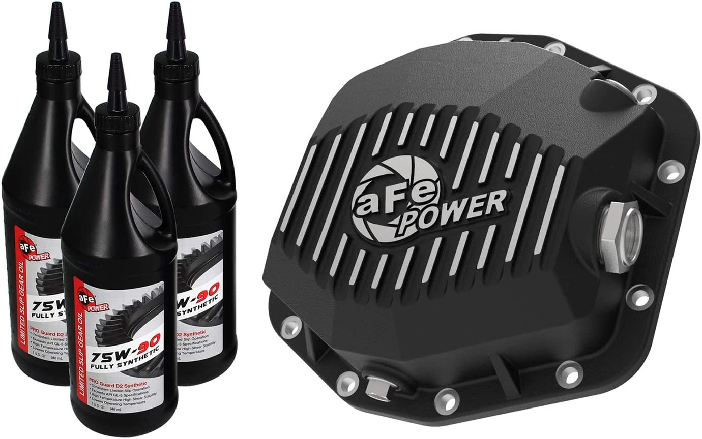 aFe Power 46-71171B Pro Series Differential Cover Black w//Machined Fins /& Gear Oil Dana M220