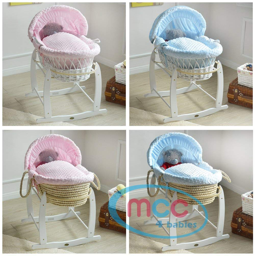 MCC Full Set Deluxe Palm Wicker Moses Basket with Dressing & Rocking Stand (Palm, Pink)