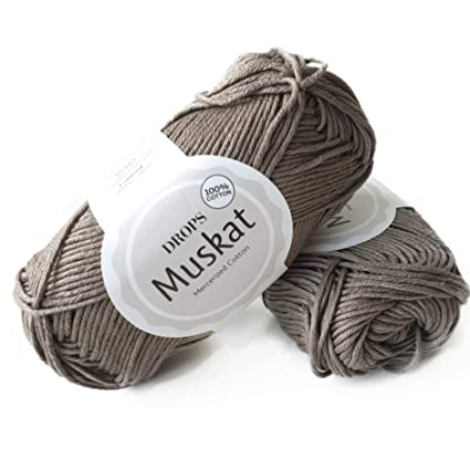 100 Cotton Yarn For Knitting And Crocheting 3 Or Light Dk Worsted Weight Drops Muskat 1 8 Oz 109 Yards Per Ball 24 Taupe Amazon In Home Kitchen