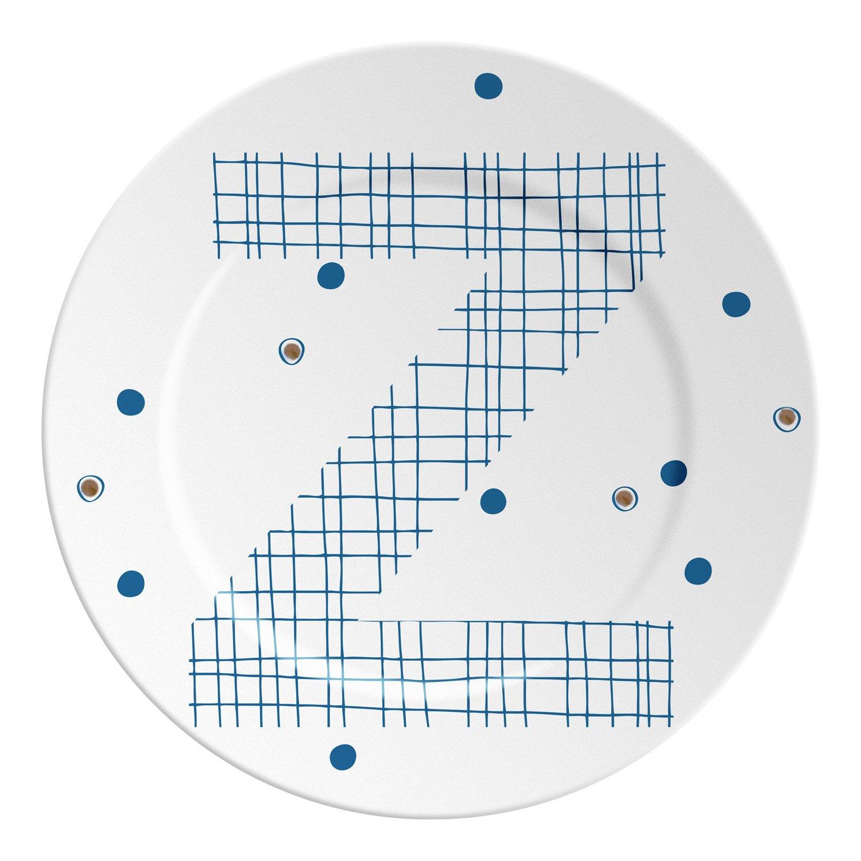 Ilaria.I ABC.SP.z Plato con Letra, Porcelana, Azul/Dorado, 16x 16x 1.5cm