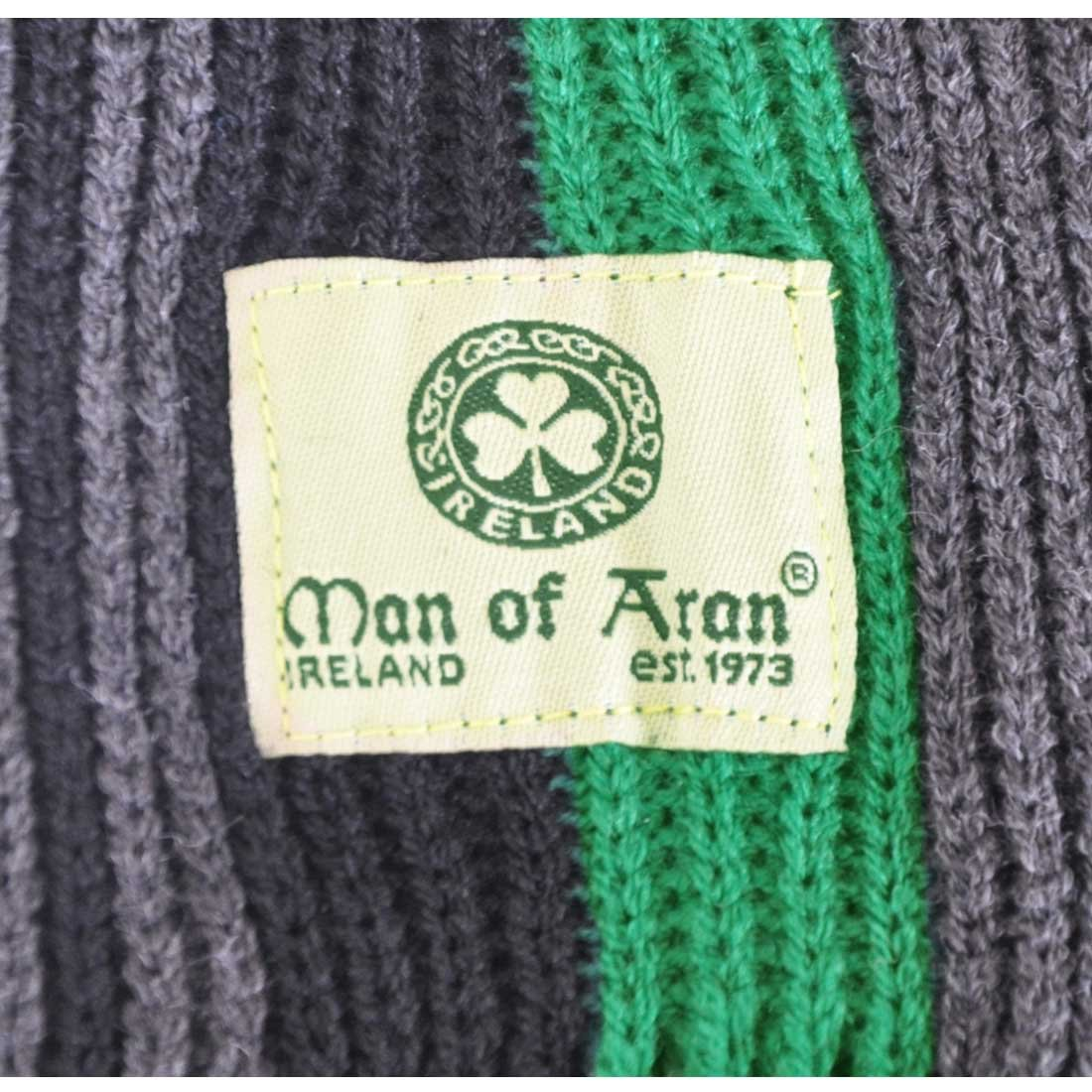 "Grey /& Charcoal Thin Stripes 8/"" X 62/"" Man Of Aran Celtic Irish Gents Acrylic Scarf with Green"