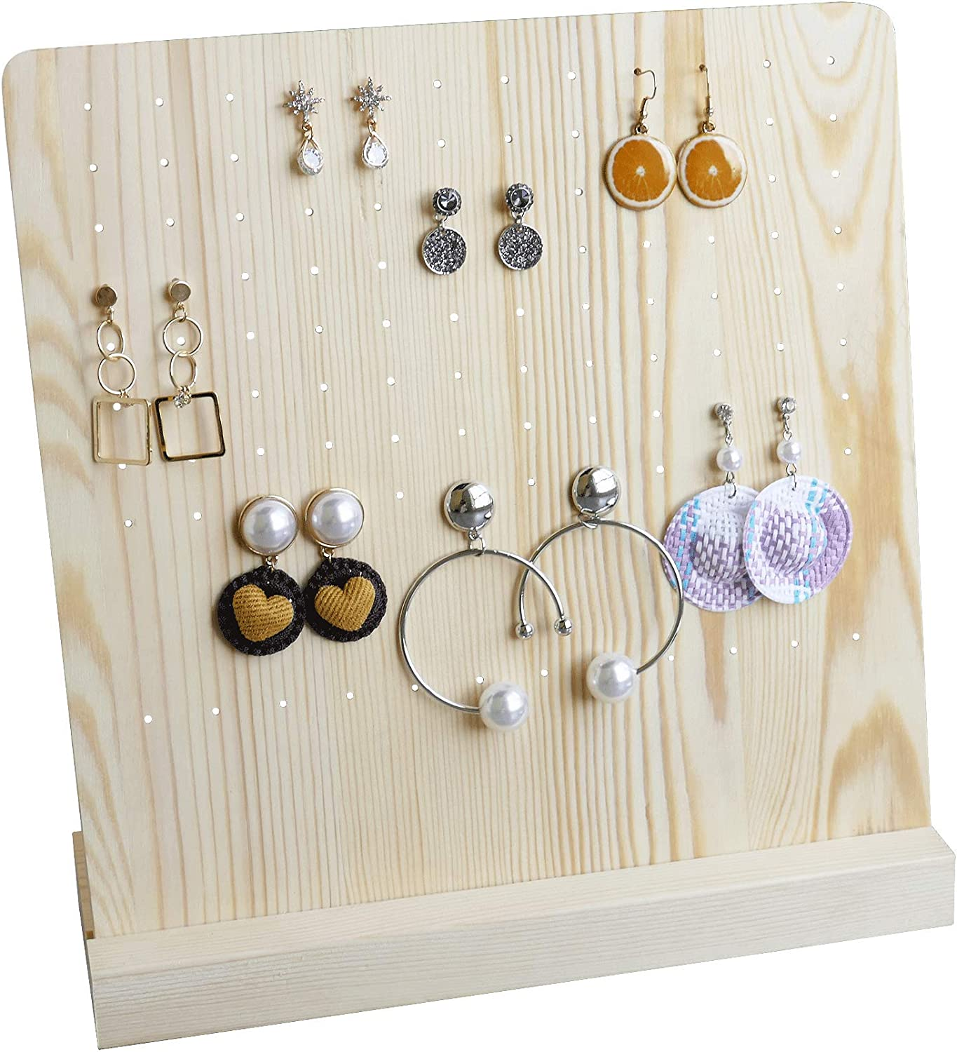 NIKKY HOME Wood Earring Holder Stand Display 108 Holes Jewelry Organizer