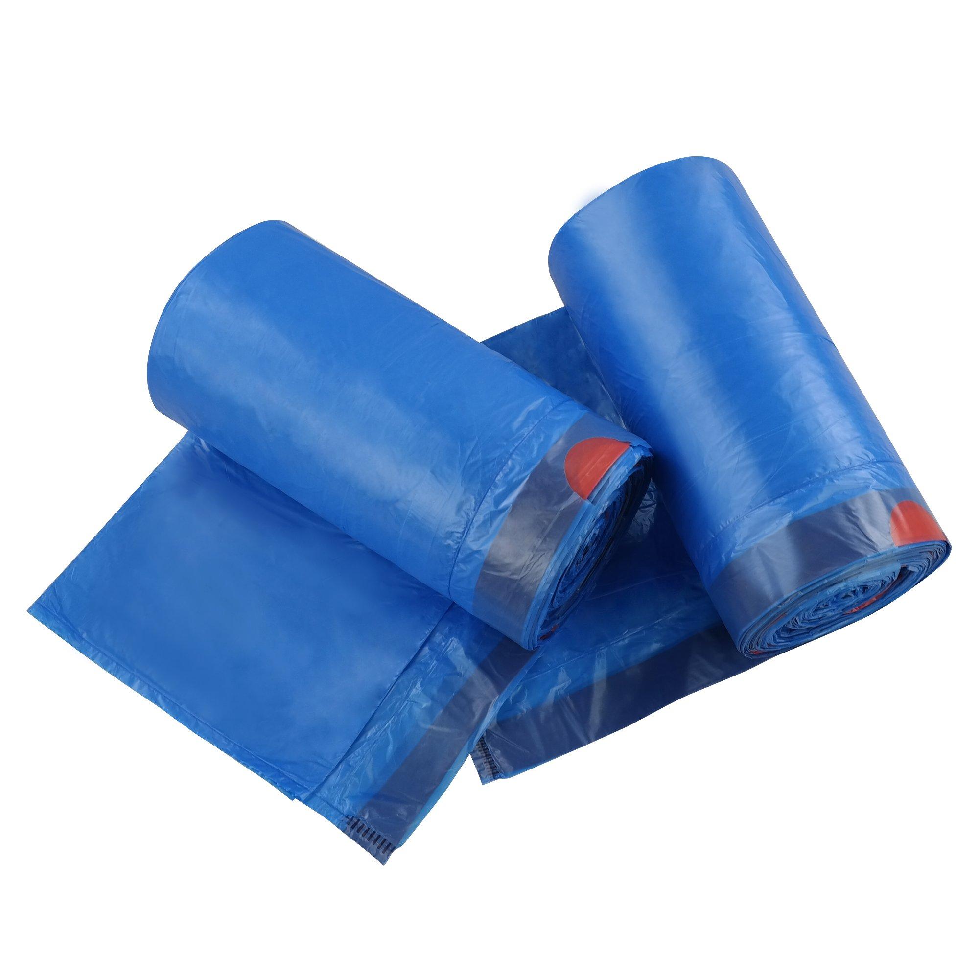 Fiaze 13 Gallon Drawstring Kitchen Garbage Bags (Blue, 110 Counts/2 Rolls)