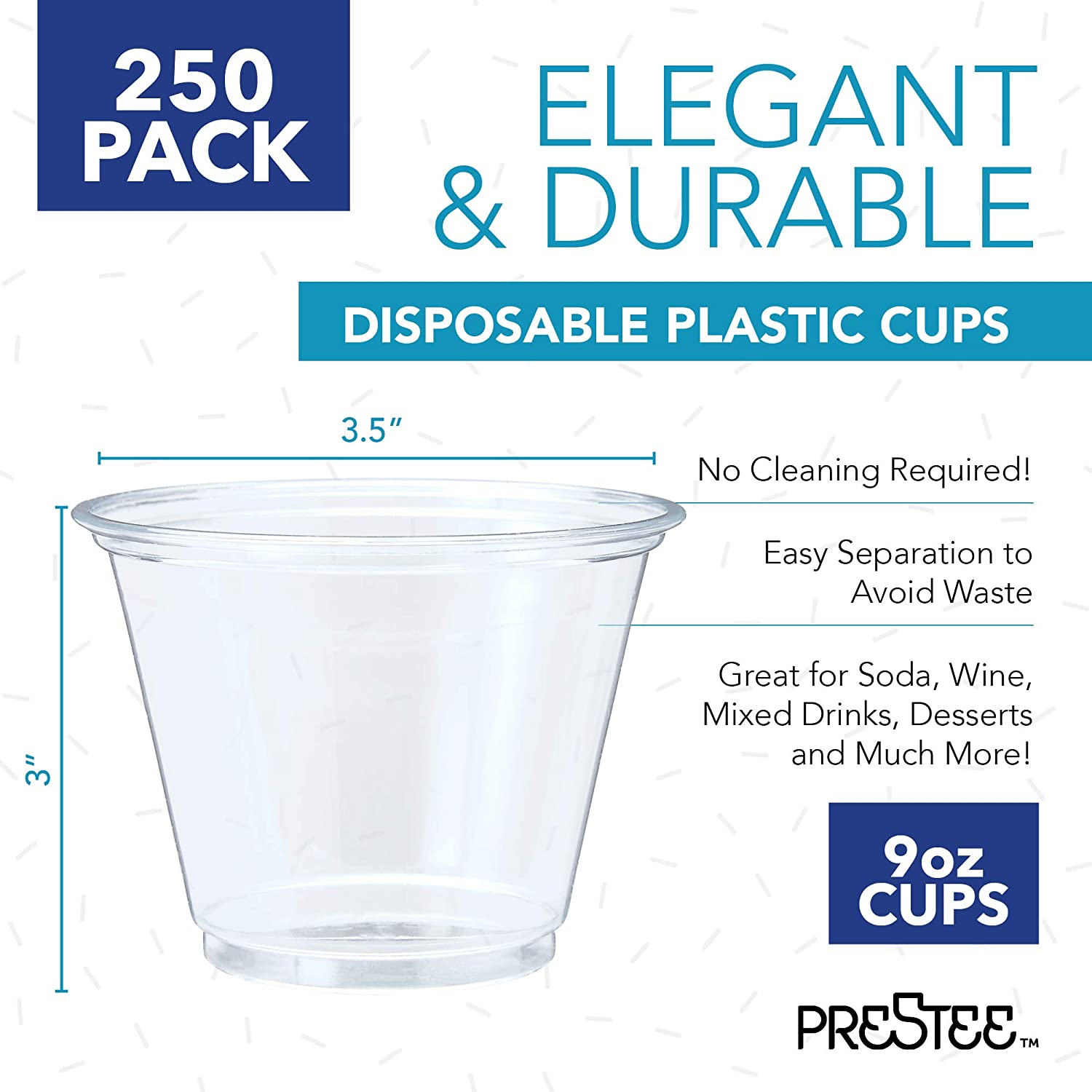 250 Clear Disposable Plastic CUPS....... party juice drinking cups packets