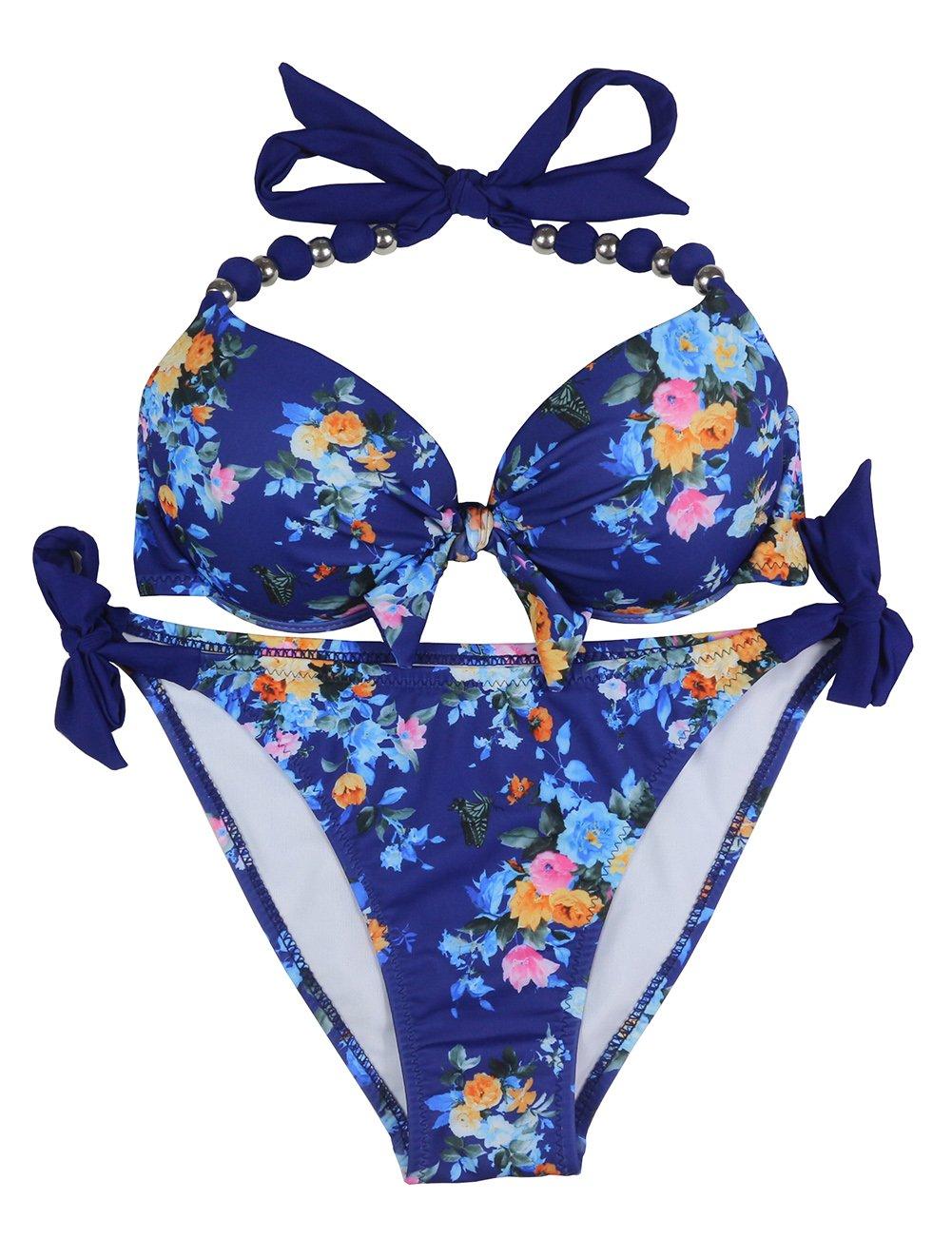EONAR Womens Halter Swimwear Removable Push up Pad Bikini Set