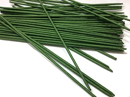 100 Stems Large Long Big Length 8 X 3 mm Floral Wire Flower Stem Artificial Floral Stem Green Wire Stems Gauge#18