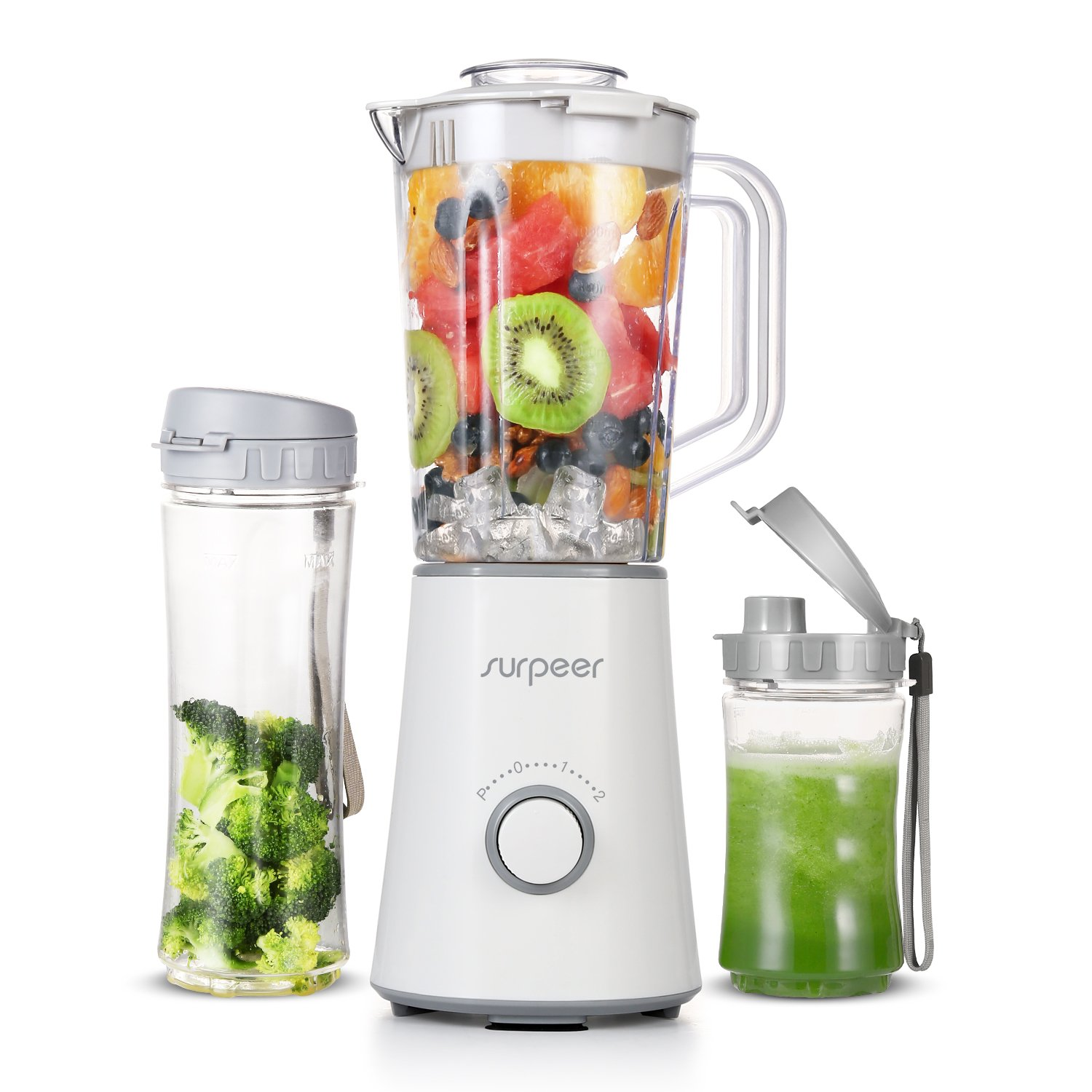 Smoothie Blenders, SURPEER 350W ice blender and juicer, High-Speed Automatic fruit blender smoothie with Pure Copper Motor - 304 Stainless Steel Blade smoothie machine - smoothie maker - 2 Portable Bottle blender - Security Protection,Kitchen for Fruit\Veg