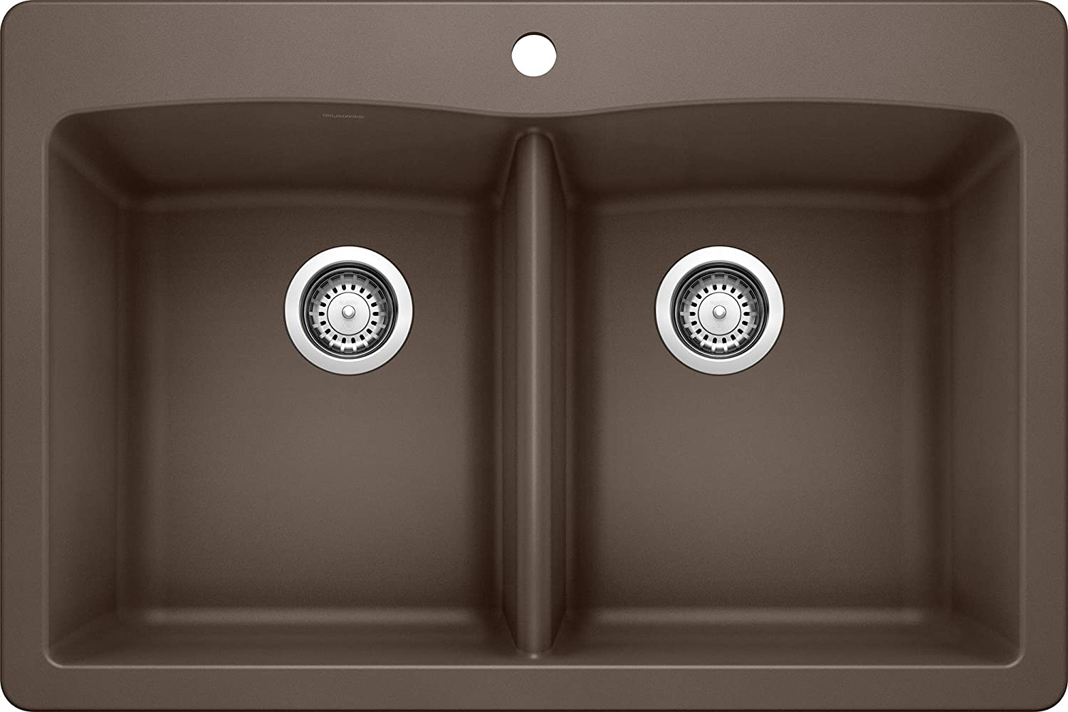 Blanco BL440218 440218 Diamond SILGRANIT Dual Mount Double Bowl, Caf , 33 L X 22 W X 9.5 D Kitchen Sink, X X, Cafe Brown
