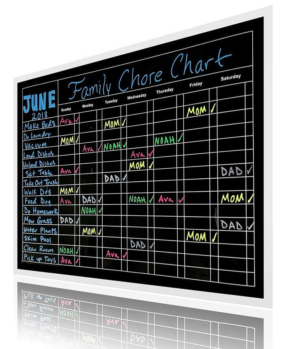 Premium X-Large 15'' X 20'' Multiple Use Responsibility Magnetic Chalkboard Chore Chart – Daily, Weekly and Monthly Scheduling Activity, Reward, Fitness, Meal Prep for Pets, Kids, Teens, and Adults