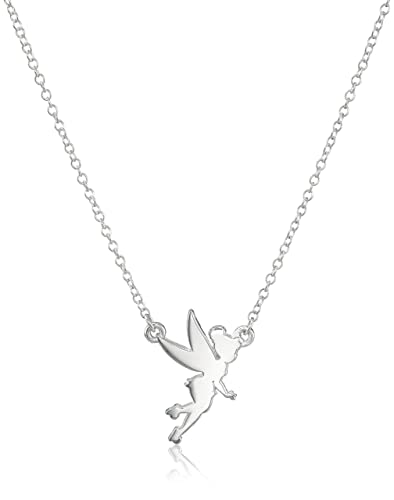 """18/"""" Disney Sterling Silver Tinker Bell Cable Chain Necklace"""